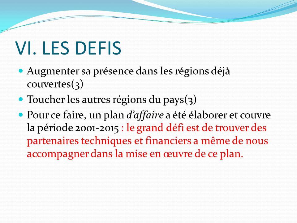 VI. LES DEFIS Augmenter sa présence dans les régions déjà couvertes(3) Toucher les autres régions du pays(3) Pour ce faire, un plan daffaire a été éla