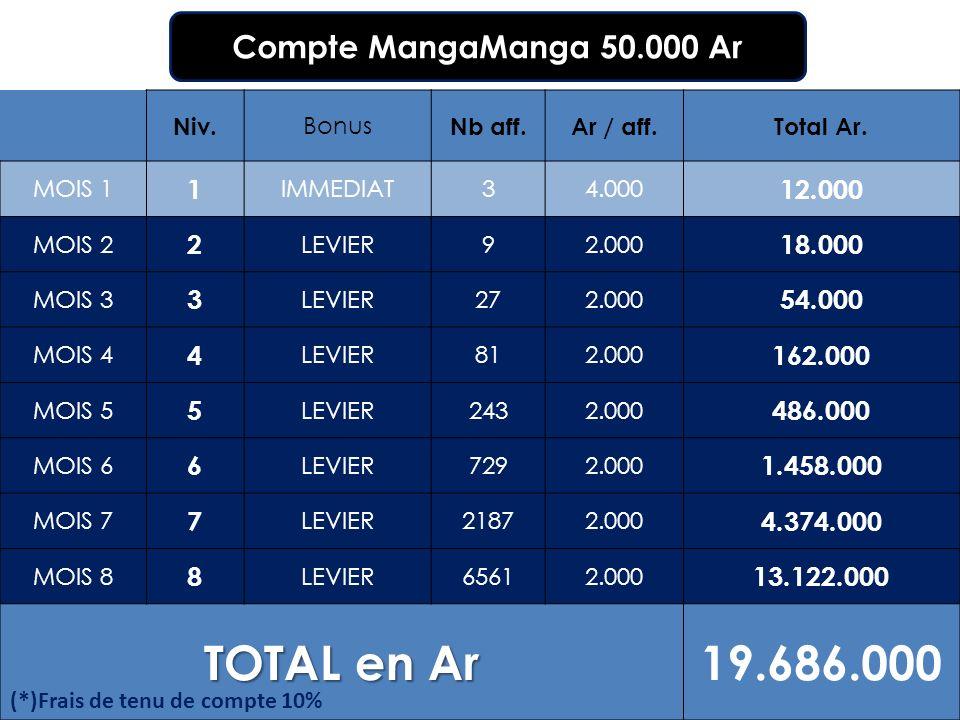Niv. Bonus Nb aff.Ar / aff.Total Ar. MOIS 1 1 IMMEDIAT34.000 12.000 MOIS 2 2 LEVIER92.000 18.000 MOIS 3 3 LEVIER272.000 54.000 MOIS 4 4 LEVIER812.000