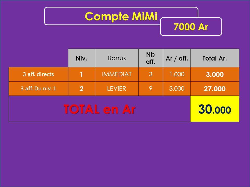 Niv. Bonus Nb aff. Ar / aff.Total Ar. 3 aff. directs 1 IMMEDIAT31.000 3.000 3 aff. Du niv. 1 2 LEVIER93.000 27.000 TOTAL en Ar 30.000 Compte MiMi 7000