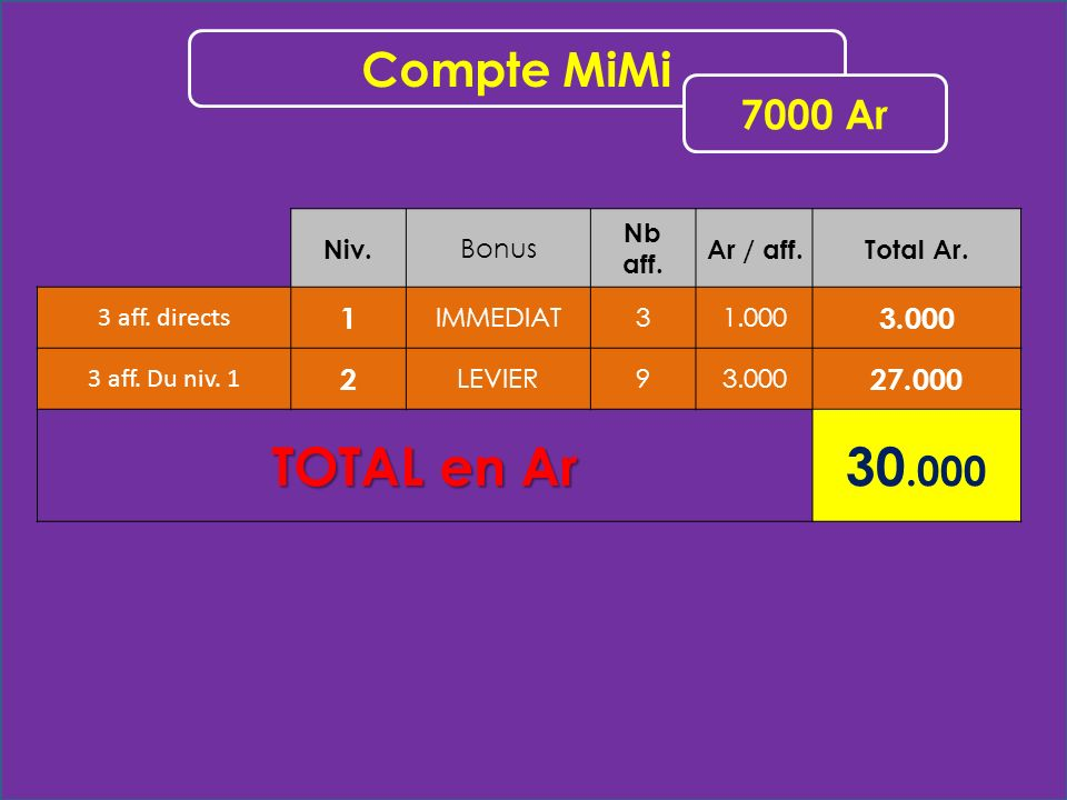 Niv. Bonus Nb aff. Ar / aff.Total Ar. 3 aff. directs 1 IMMEDIAT31.000 3.000 3 aff.