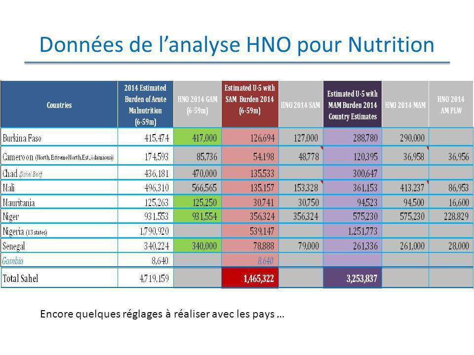 Données de lanalyse HNO pour Nutrition Encore quelques réglages à réaliser avec les pays …