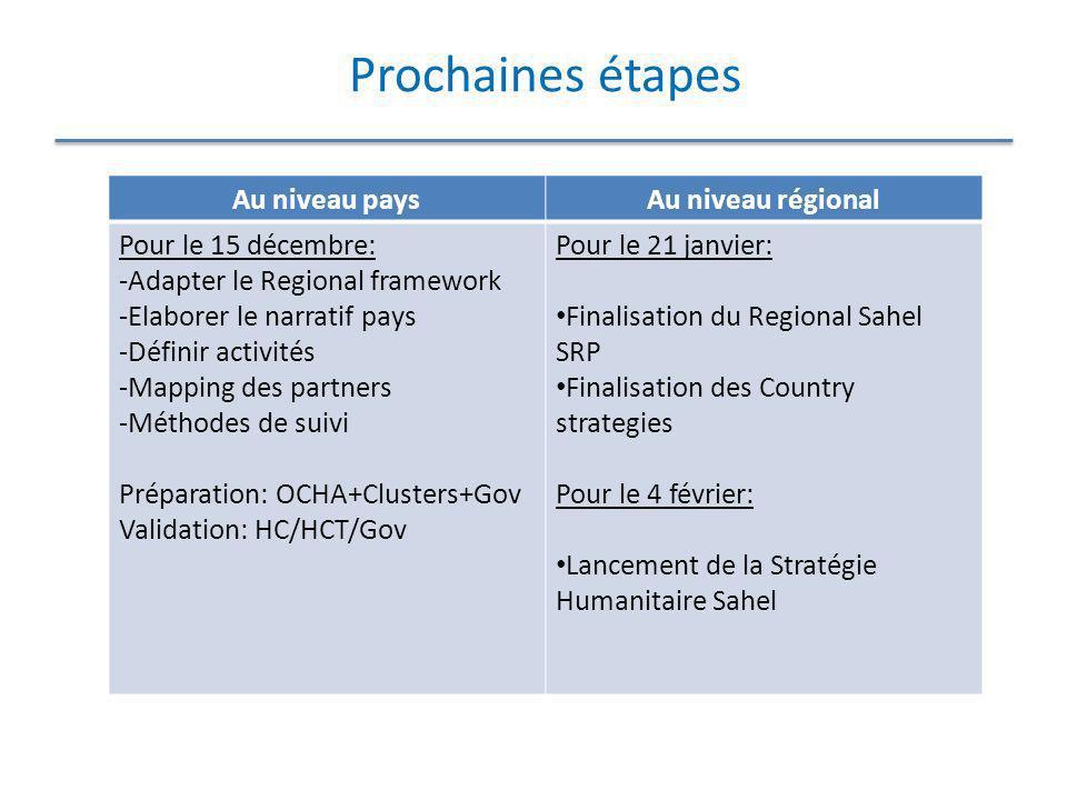 Prochaines étapes Au niveau paysAu niveau régional Pour le 15 décembre: -Adapter le Regional framework -Elaborer le narratif pays -Définir activités -