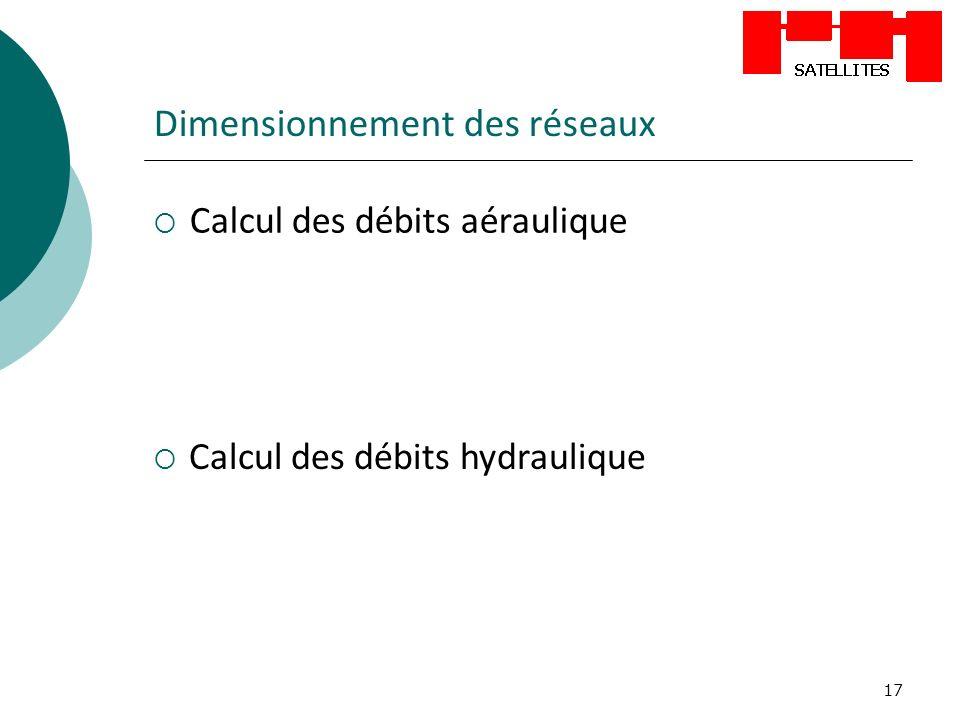17 Dimensionnement des réseaux Calcul des débits aéraulique Calcul des débits hydraulique