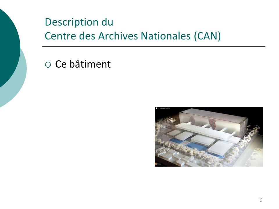 6 Description du Centre des Archives Nationales (CAN) Ce bâtiment