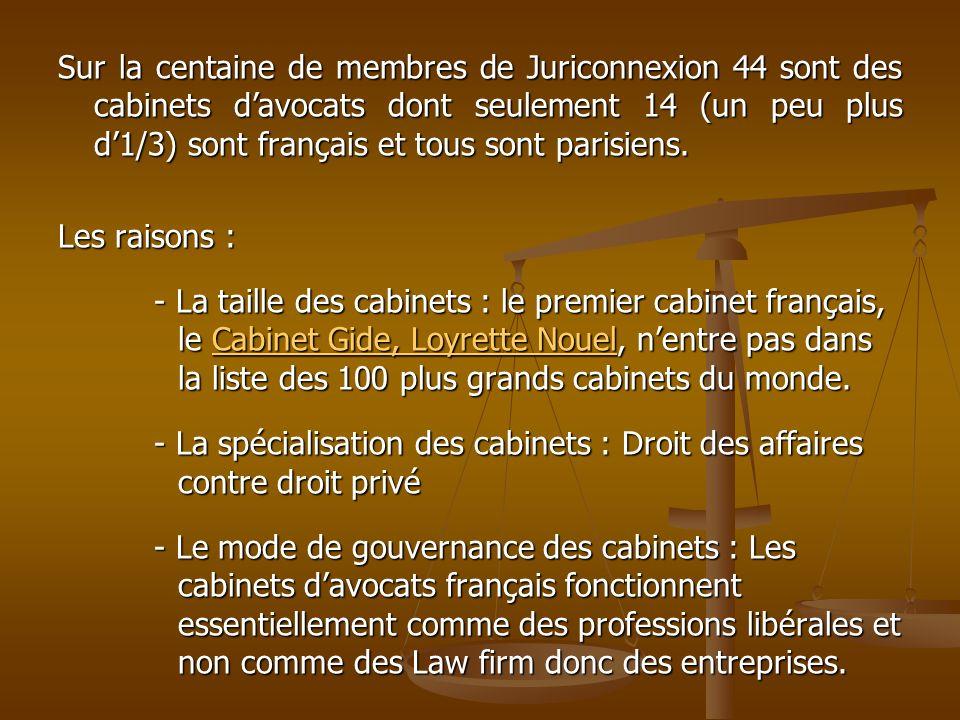 Sur la centaine de membres de Juriconnexion 44 sont des cabinets davocats dont seulement 14 (un peu plus d1/3) sont français et tous sont parisiens. L