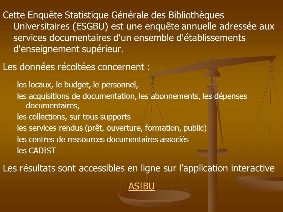 Cette Enquête Statistique Générale des Bibliothèques Universitaires (ESGBU) est une enquête annuelle adressée aux services documentaires d'un ensemble