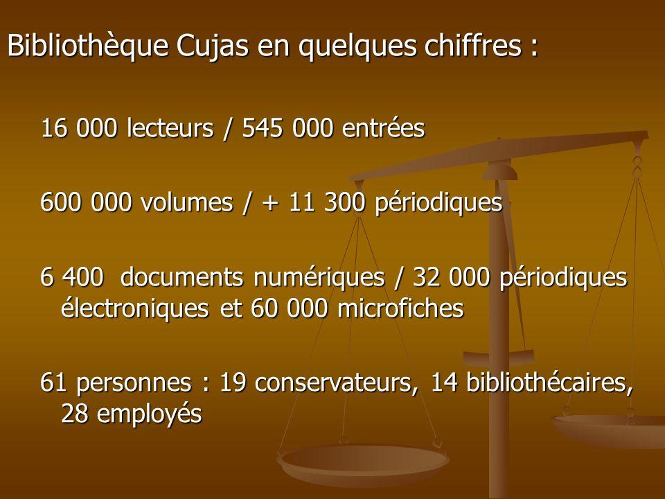 Bibliothèque Cujas en quelques chiffres : 16 000 lecteurs / 545 000 entrées 600 000 volumes / + 11 300 périodiques 6 400 documents numériques / 32 000