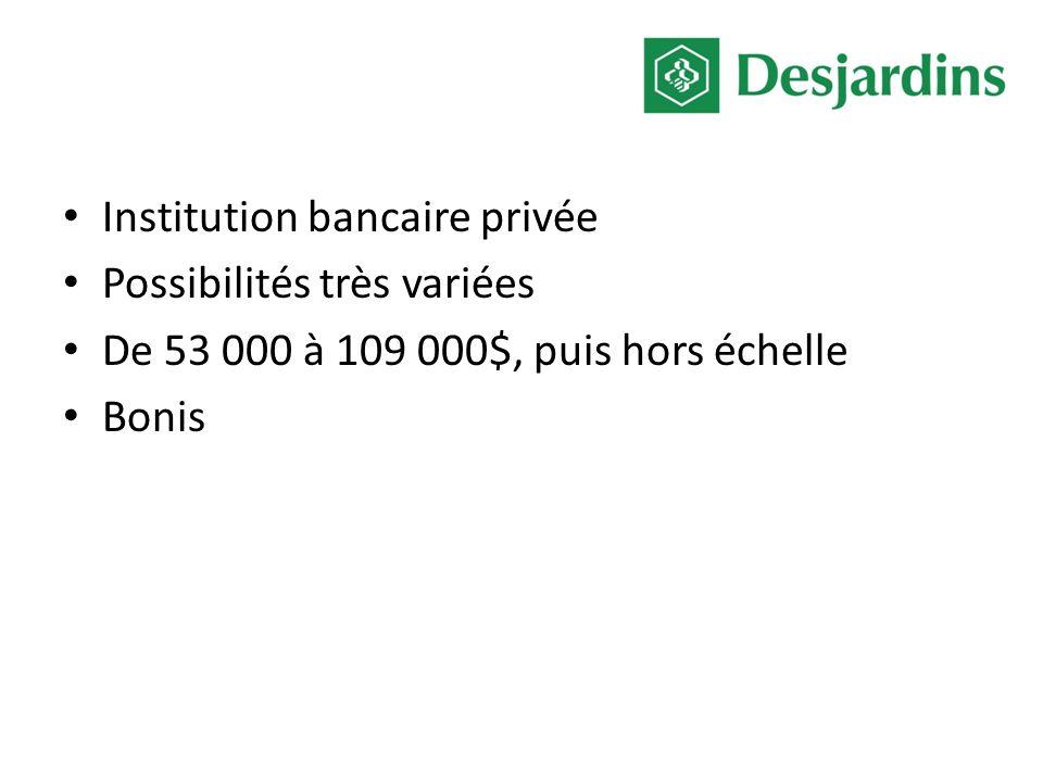 Institution bancaire privée Possibilités très variées De 53 000 à 109 000$, puis hors échelle Bonis
