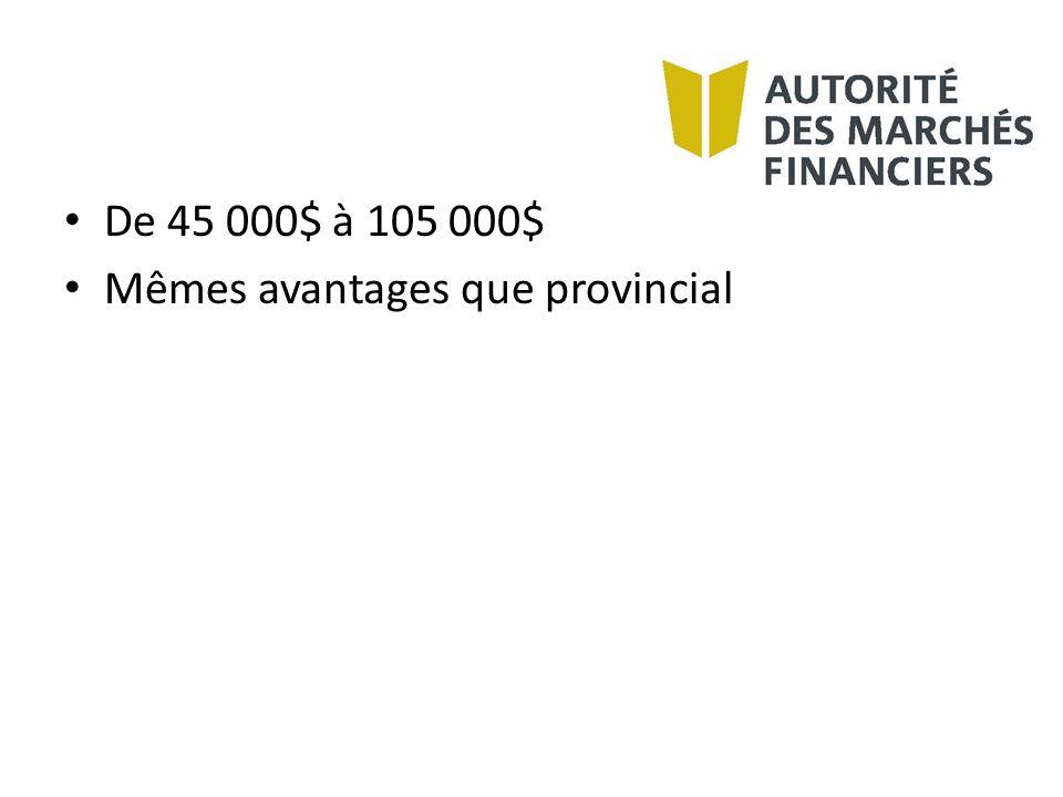 Mêmes avantages que provincial