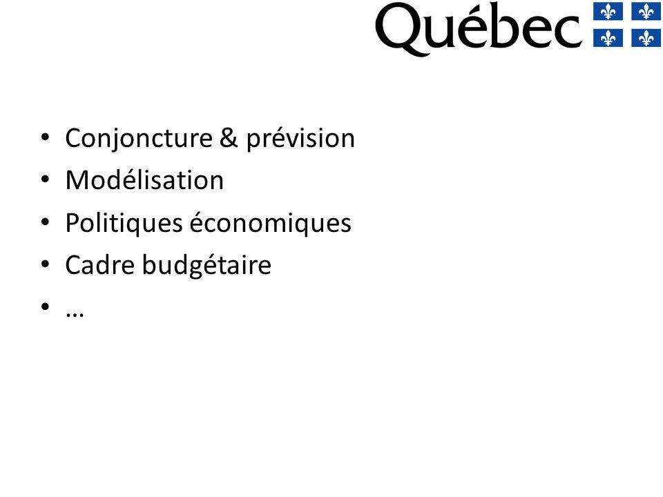 Conjoncture & prévision Modélisation Politiques économiques Cadre budgétaire …