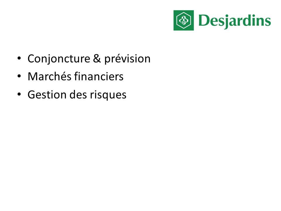 Conjoncture & prévision Marchés financiers Gestion des risques