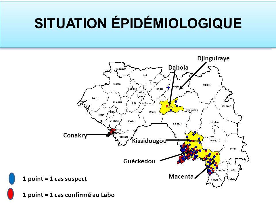 1 point = 1 cas suspect 1 point = 1 cas confirmé au Labo Guéckedou Macenta Kissidougou Dabola Djinguiraye Conakry SITUATION ÉPIDÉMIOLOGIQUE