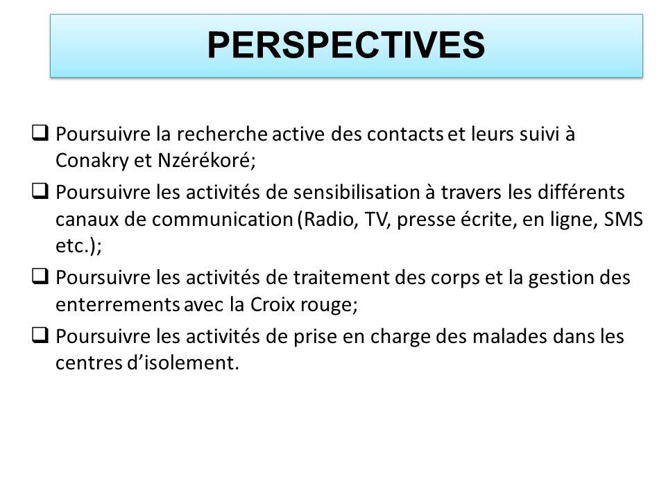 PERSPECTIVES Poursuivre la recherche active des contacts et leurs suivi à Conakry et Nzérékoré; Poursuivre les activités de sensibilisation à travers