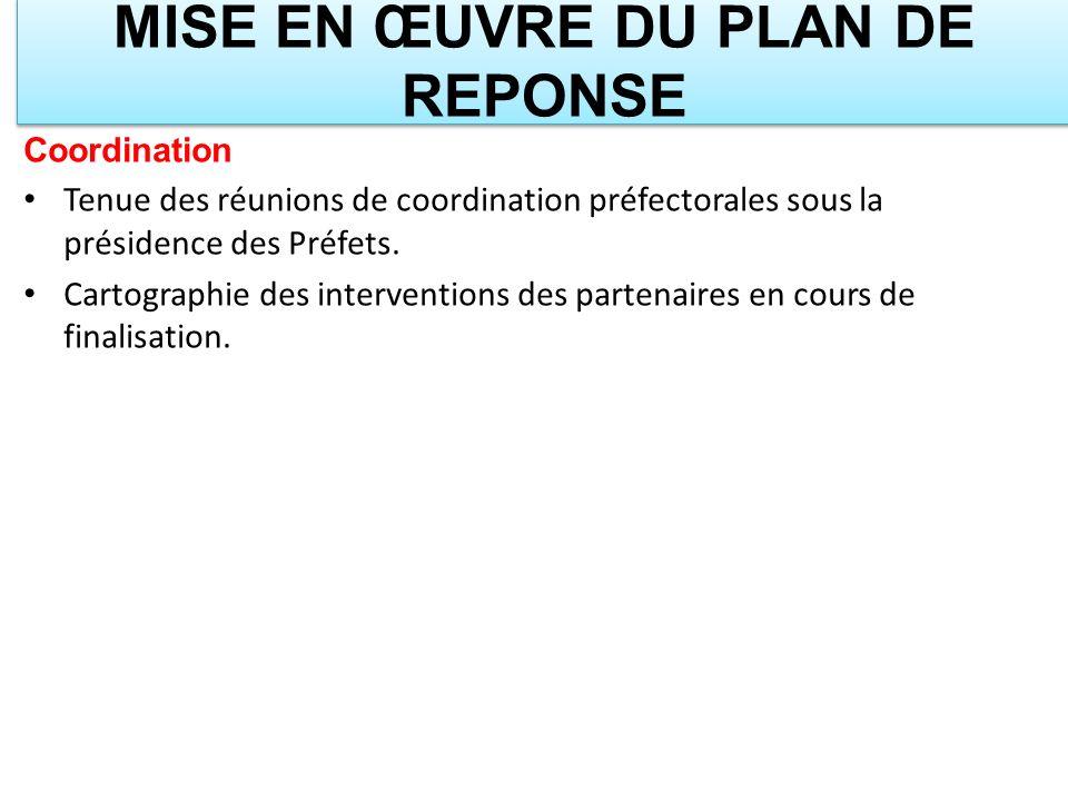 MISE EN ŒUVRE DU PLAN DE REPONSE Coordination Tenue des réunions de coordination préfectorales sous la présidence des Préfets. Cartographie des interv