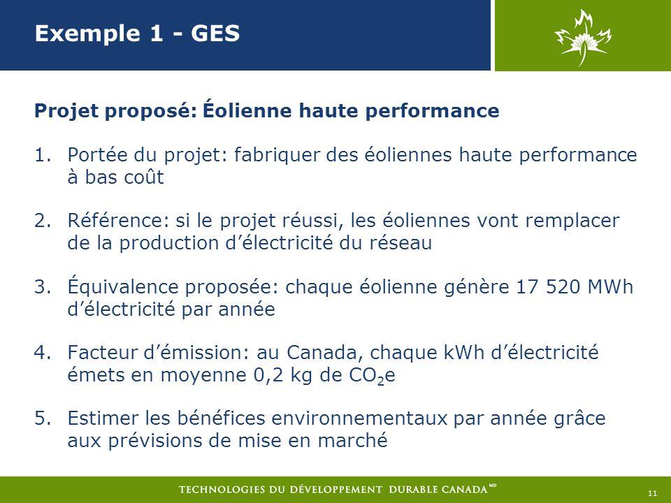 Exemple 1 - GES Projet proposé: Éolienne haute performance 1.Portée du projet: fabriquer des éoliennes haute performance à bas coût 2.Référence: si le projet réussi, les éoliennes vont remplacer de la production délectricité du réseau 3.Équivalence proposée: chaque éolienne génère 17 520 MWh délectricité par année 4.Facteur démission: au Canada, chaque kWh délectricité émets en moyenne 0,2 kg de CO 2 e 5.Estimer les bénéfices environnementaux par année grâce aux prévisions de mise en marché 11