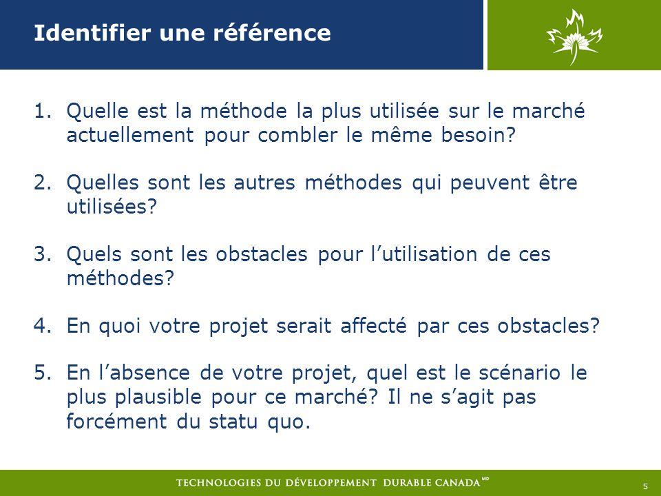 Identifier une référence 1.Quelle est la méthode la plus utilisée sur le marché actuellement pour combler le même besoin.
