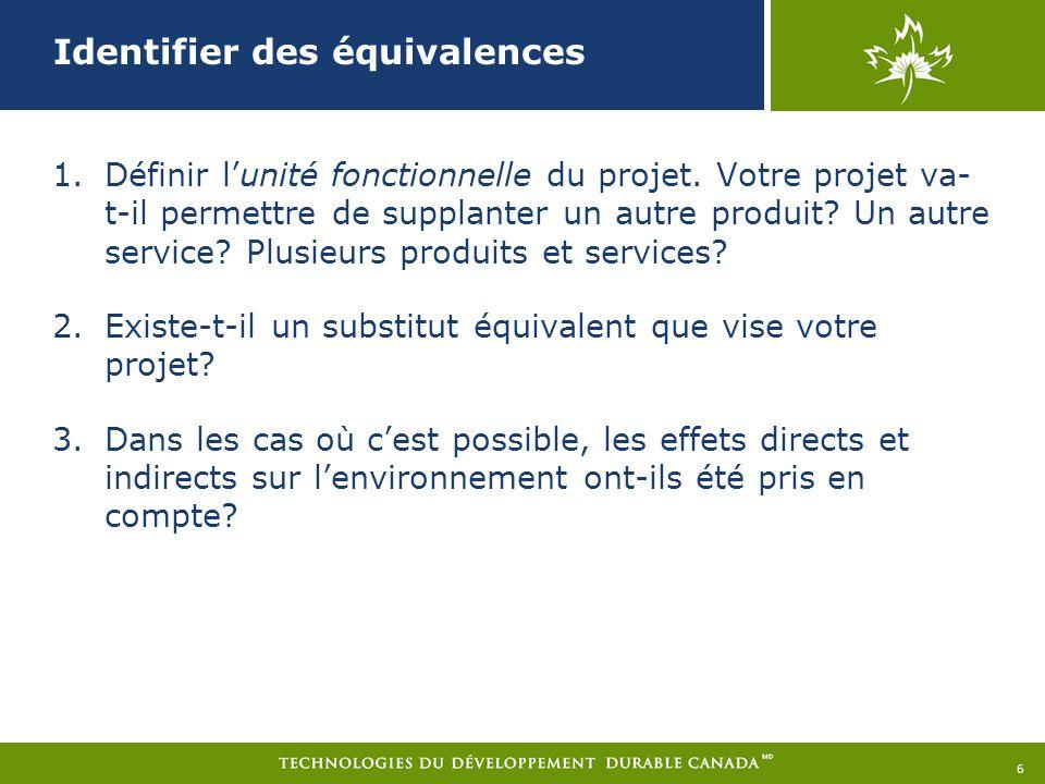 Identifier des équivalences 1.Définir lunité fonctionnelle du projet.