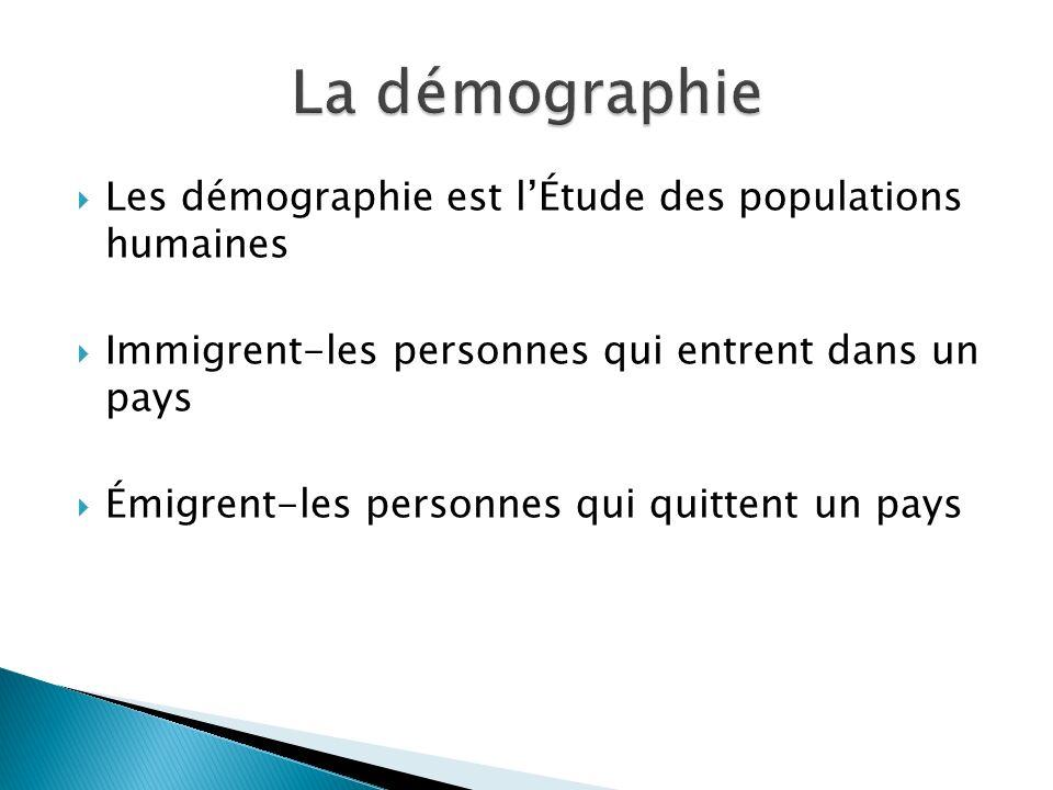 Les démographie est lÉtude des populations humaines Immigrent-les personnes qui entrent dans un pays Émigrent-les personnes qui quittent un pays