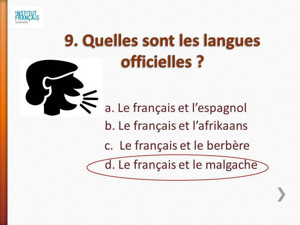 a. Le français et lespagnol b. Le français et lafrikaans c.