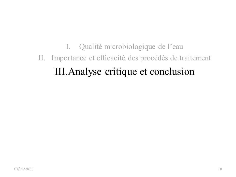 I.Qualité microbiologique de leau II.Importance et efficacité des procédés de traitement III.Analyse critique et conclusion 01/06/201118