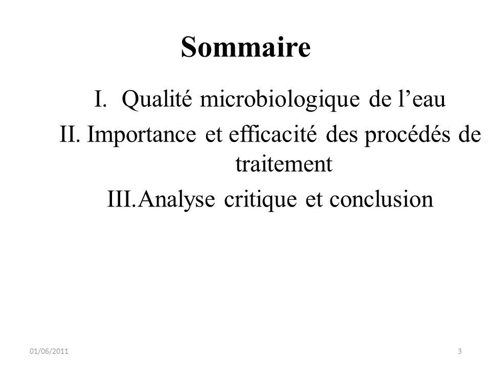 Sommaire I.Qualité microbiologique de leau II.Importance et efficacité des procédés de traitement III.Analyse critique et conclusion 01/06/20113