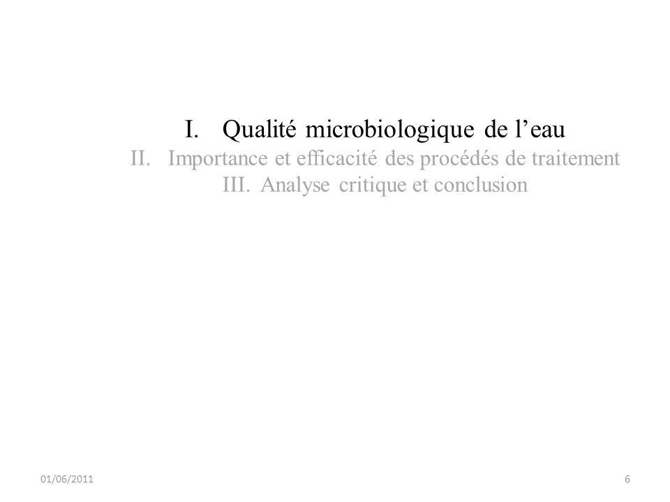 01/06/2011 I.Qualité microbiologique de leau II.Importance et efficacité des procédés de traitement III.Analyse critique et conclusion 6