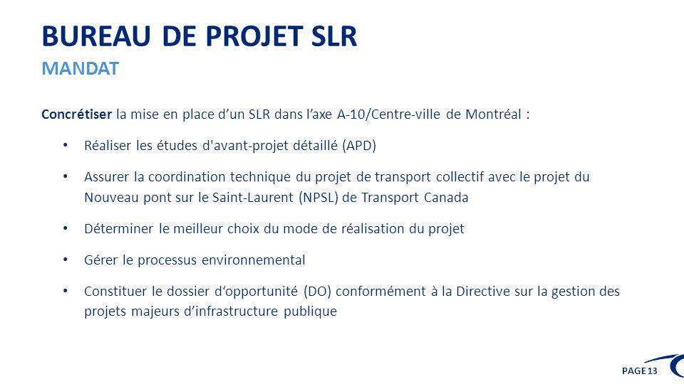 PAGE 13 BUREAU DE PROJET SLR MANDAT Concrétiser la mise en place dun SLR dans laxe A-10/Centre-ville de Montréal : Réaliser les études d'avant-projet