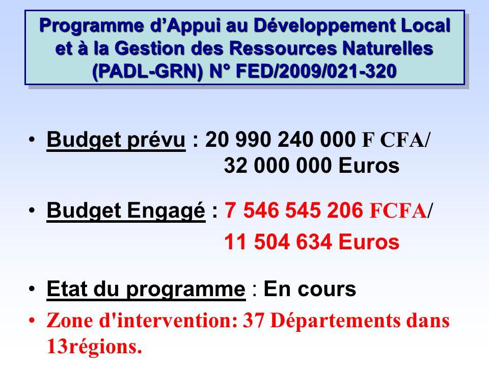 Budget prévu : 20 990 240 000 F CFA/ 32 000 000 Euros Budget Engagé : 7 546 545 206 FCFA/ 11 504 634 Euros Etat du programme : En cours Zone d intervention: 37 Départements dans 13régions.