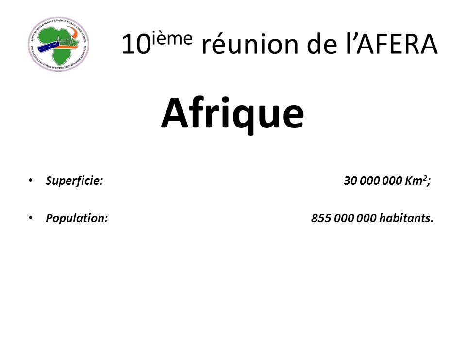 10 ième réunion de lAFERA Afrique Superficie: 30 000 000 Km 2 ; Population: 855 000 000 habitants.