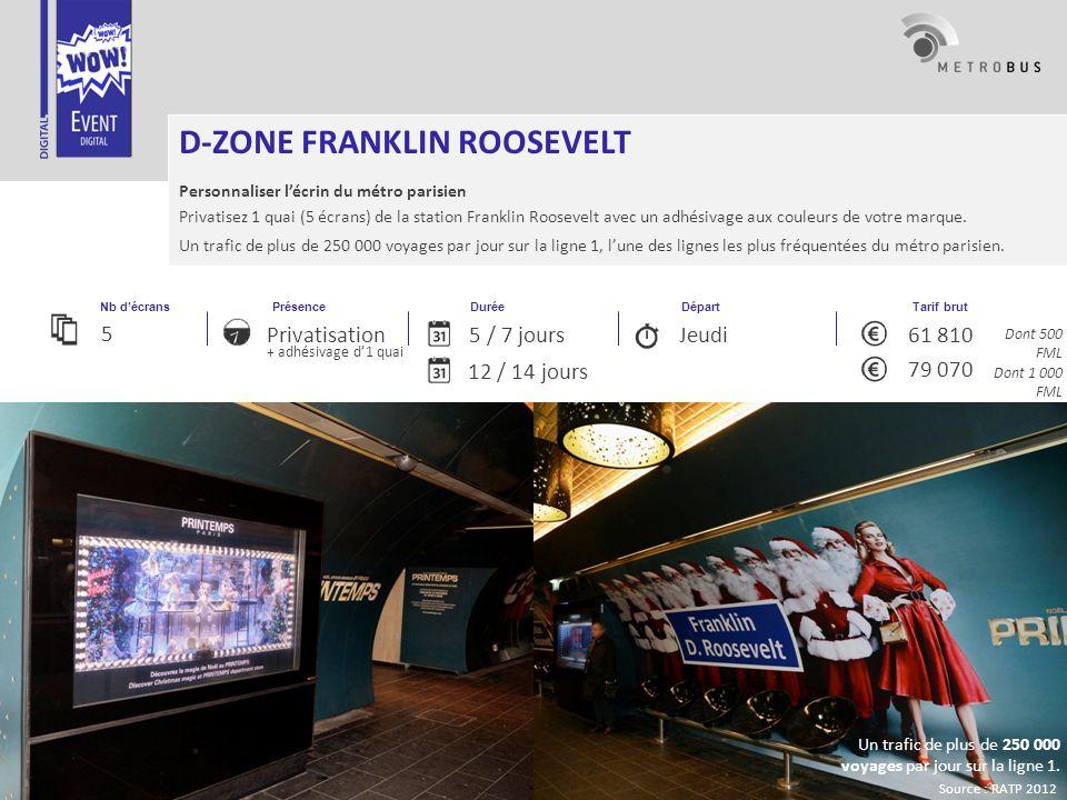 Informations non contractuelles, parc soumis à fluctuations PrésenceDuréeNb décrans Tarif brut Départ Privatisation + adhésivage des 2 quais D-ZONE FRANKLIN ROOSEVELT Personnaliser lécrin du métro parisien Privatisez 1 ou 2 quais (5 ou 10 écrans)de la station Franklin Roosevelt avec un adhésivage aux couleurs de votre marque.
