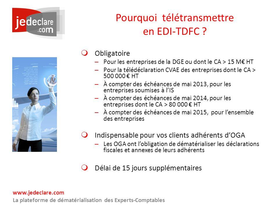 www.jedeclare.com La plateforme de dématérialisation des Experts-Comptables Pourquoi télétransmettre en EDI-TDFC ? Obligatoire – Pour les entreprises