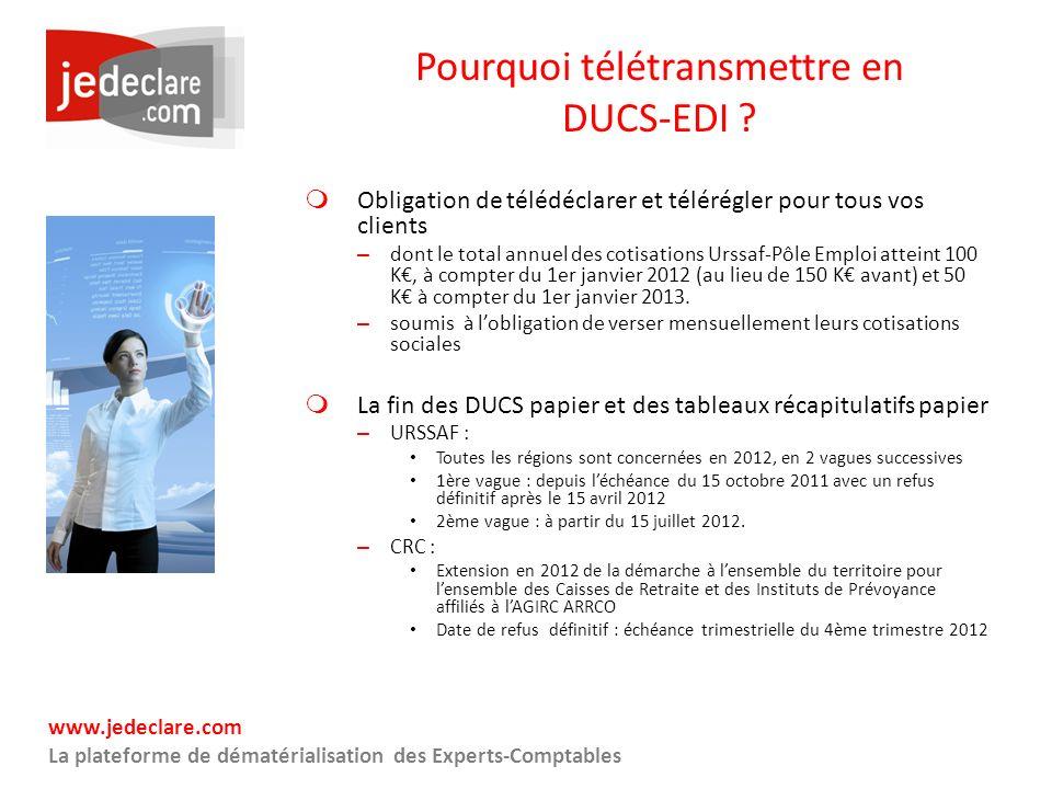 www.jedeclare.com La plateforme de dématérialisation des Experts-Comptables Pourquoi télétransmettre en DUCS-EDI ? Obligation de télédéclarer et télér