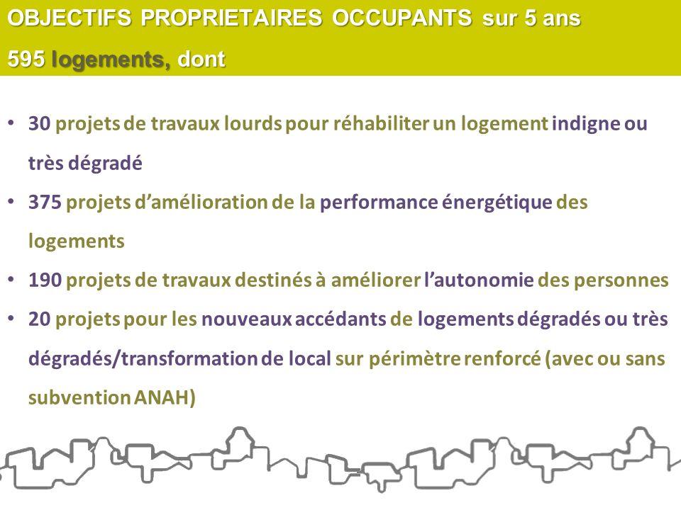 30 projets de travaux lourds pour réhabiliter un logement indigne ou très dégradé 375 projets damélioration de la performance énergétique des logement