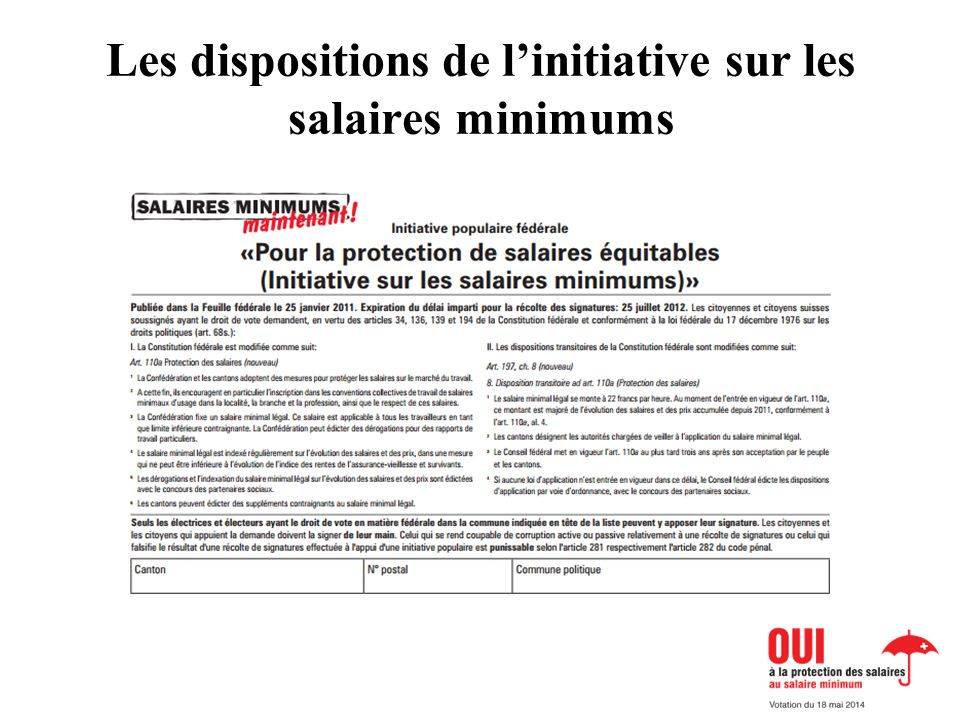 Les dispositions de linitiative sur les salaires minimums