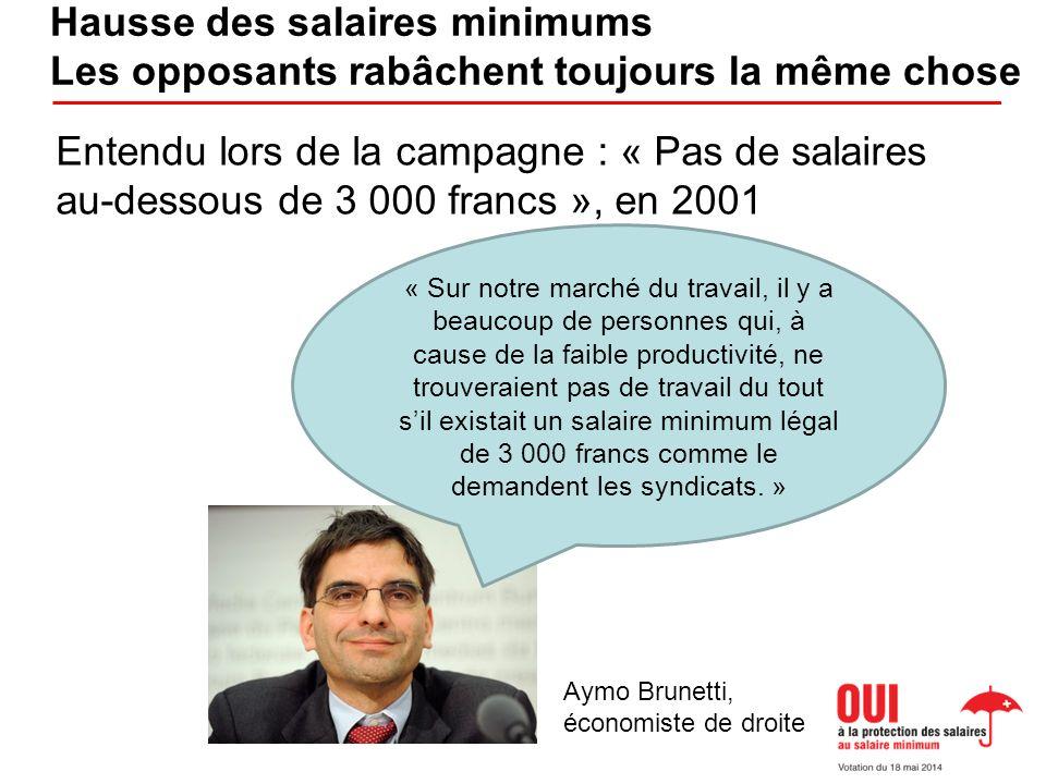 « Sur notre marché du travail, il y a beaucoup de personnes qui, à cause de la faible productivité, ne trouveraient pas de travail du tout sil existait un salaire minimum légal de 3 000 francs comme le demandent les syndicats.