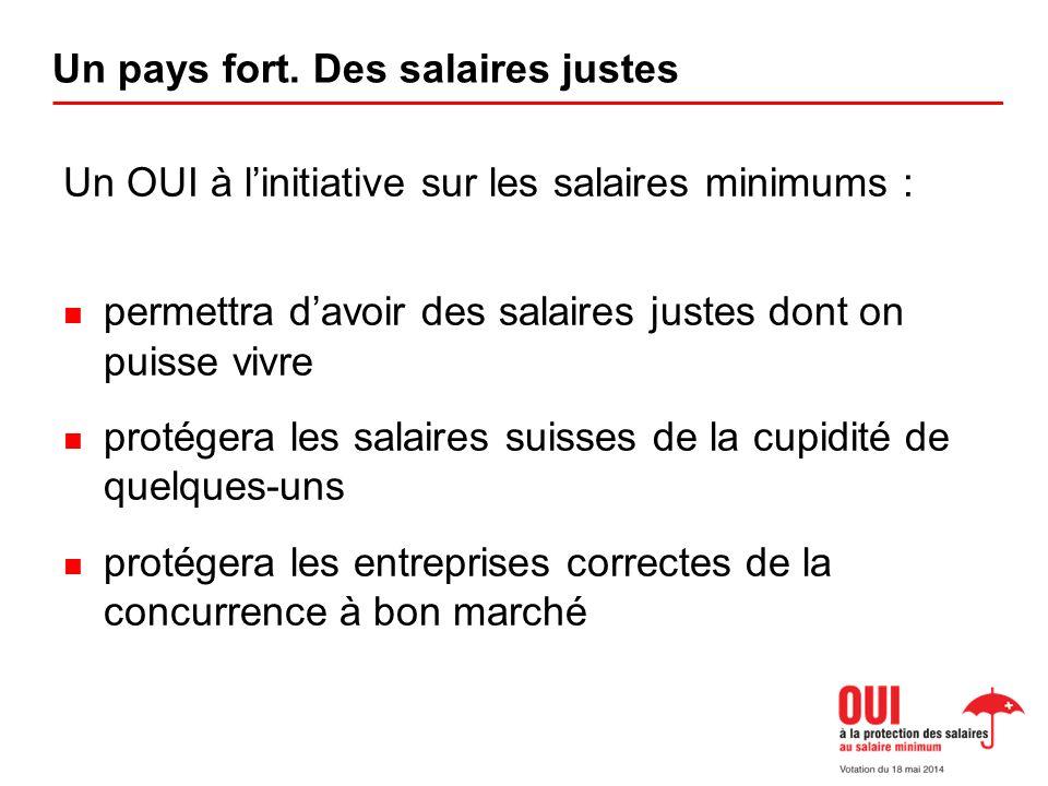 Un OUI à linitiative sur les salaires minimums : permettra davoir des salaires justes dont on puisse vivre protégera les salaires suisses de la cupidité de quelques-uns protégera les entreprises correctes de la concurrence à bon marché Un pays fort.