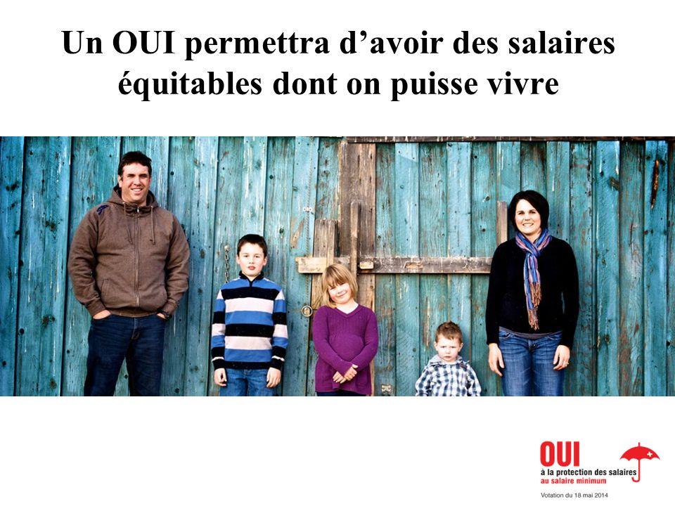 Un OUI permettra davoir des salaires équitables dont on puisse vivre