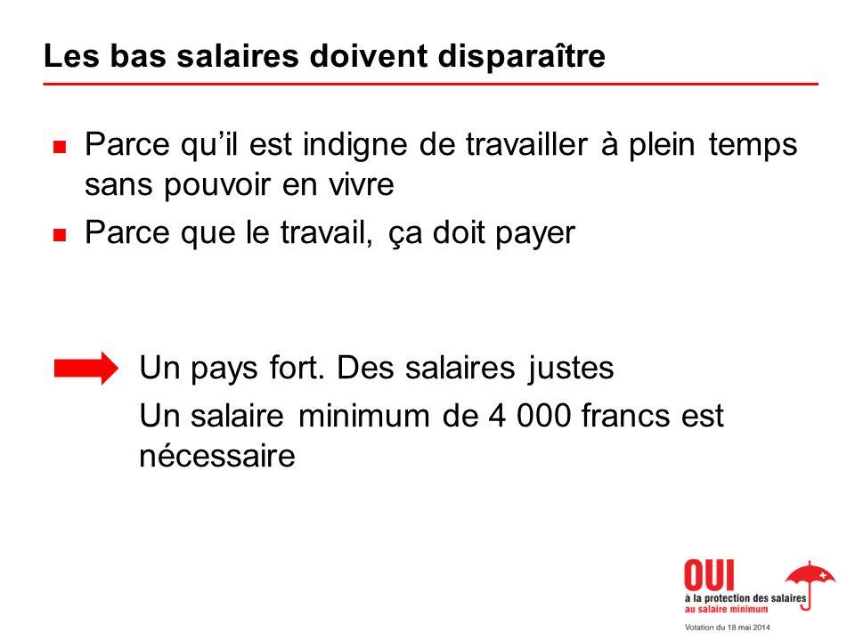Les bas salaires doivent disparaître Parce quil est indigne de travailler à plein temps sans pouvoir en vivre Parce que le travail, ça doit payer Un pays fort.