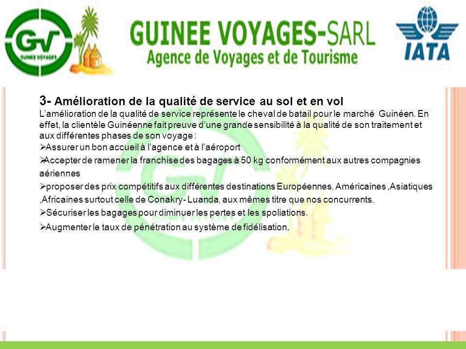 3- Amélioration de la qualité de service au sol et en vol Lamélioration de la qualité de service représente le cheval de batail pour le marché Guinéen