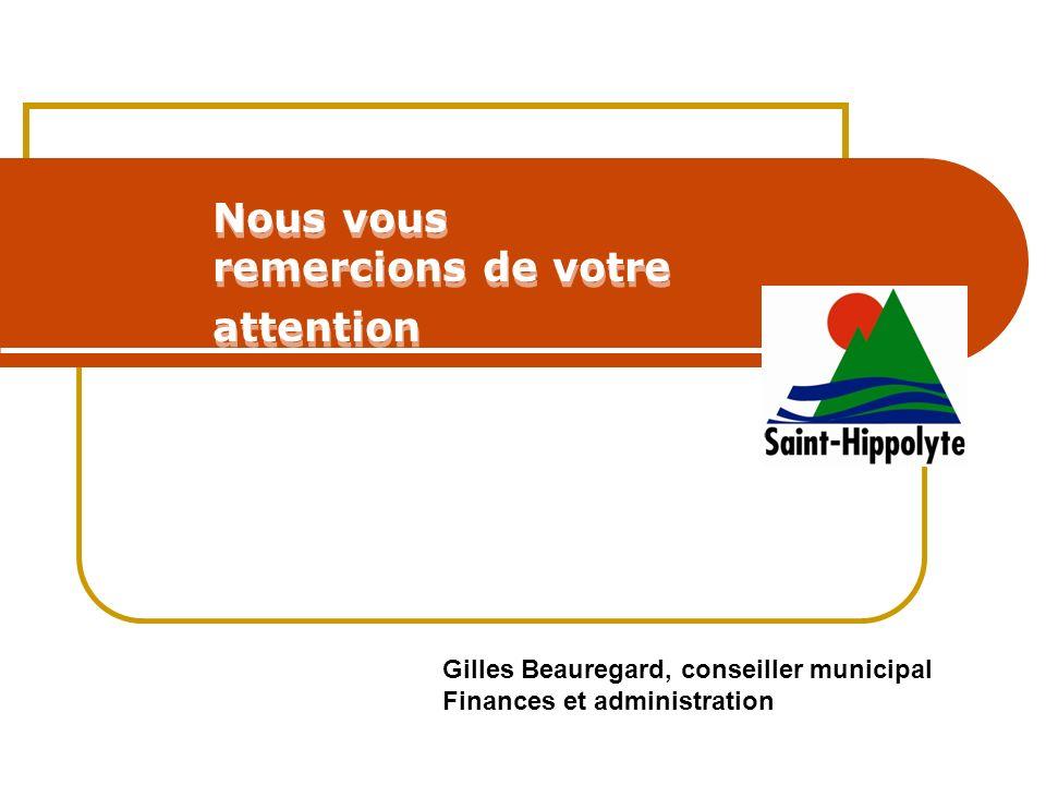 Nous vous remercions de votre attention Gilles Beauregard, conseiller municipal Finances et administration