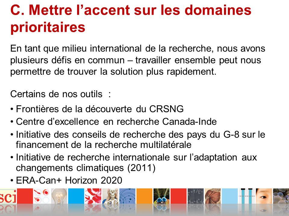 C. Mettre laccent sur les domaines prioritaires Certains de nos outils : Frontières de la découverte du CRSNG Centre dexcellence en recherche Canada-I
