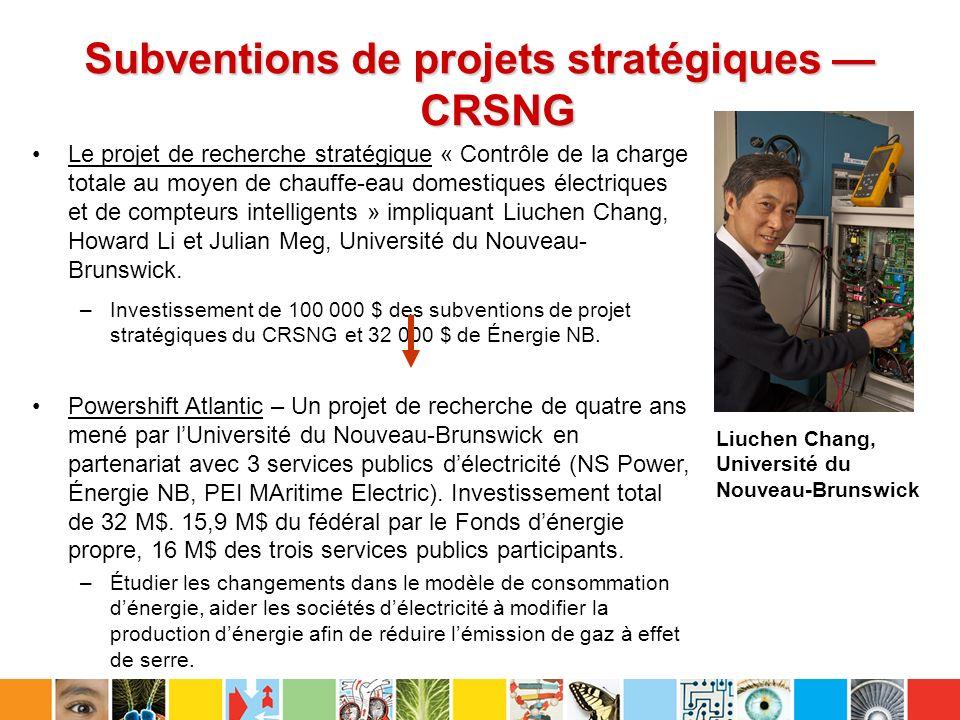 Subventions de projets stratégiques CRSNG Le projet de recherche stratégique « Contrôle de la charge totale au moyen de chauffe-eau domestiques électriques et de compteurs intelligents » impliquant Liuchen Chang, Howard Li et Julian Meg, Université du Nouveau- Brunswick.