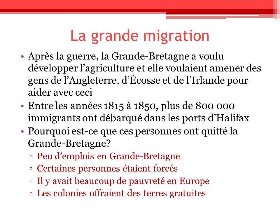 La grande migration Après la guerre, la Grande-Bretagne a voulu développer lagriculture et elle voulaient amener des gens de lAngleterre, dÉcosse et d