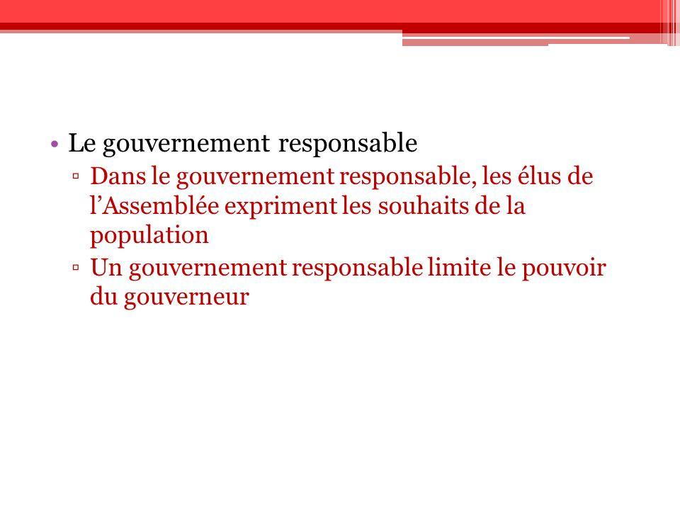 Le gouvernement responsable Dans le gouvernement responsable, les élus de lAssemblée expriment les souhaits de la population Un gouvernement responsab