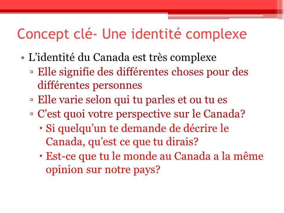 Concept clé- Une identité complexe Lidentité du Canada est très complexe Elle signifie des différentes choses pour des différentes personnes Elle vari