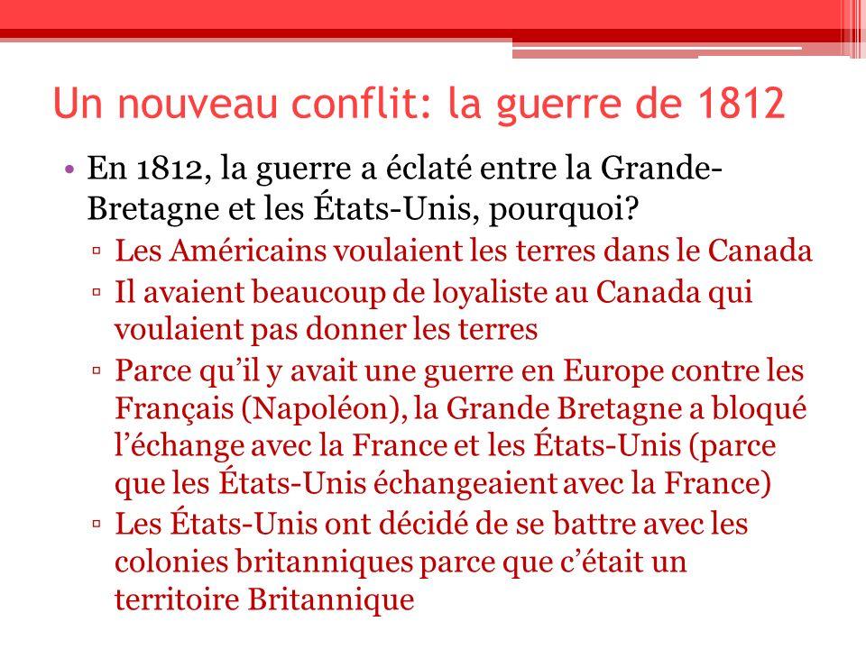 Un nouveau conflit: la guerre de 1812 En 1812, la guerre a éclaté entre la Grande- Bretagne et les États-Unis, pourquoi? Les Américains voulaient les