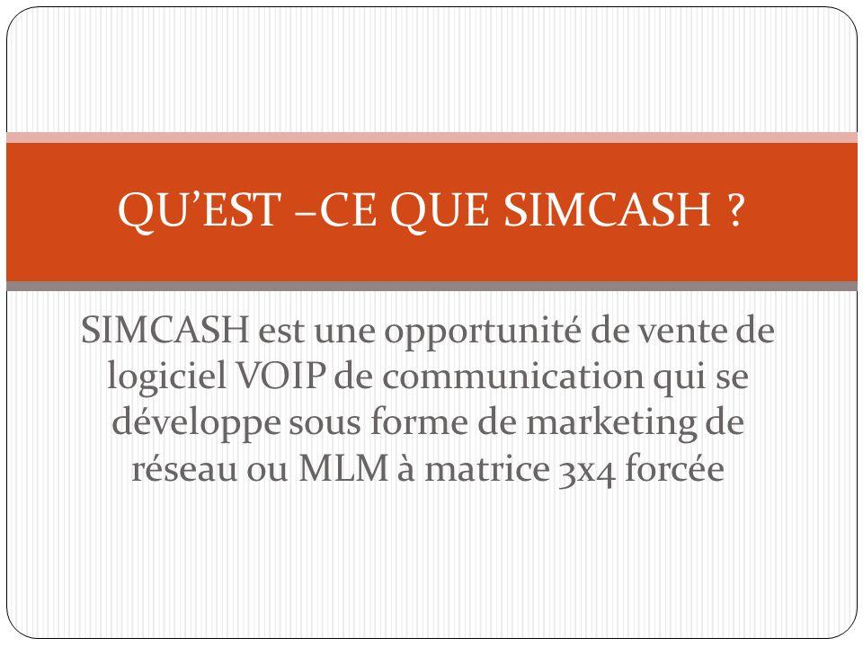 SIMCASH est une opportunité de vente de logiciel VOIP de communication qui se développe sous forme de marketing de réseau ou MLM à matrice 3x4 forcée