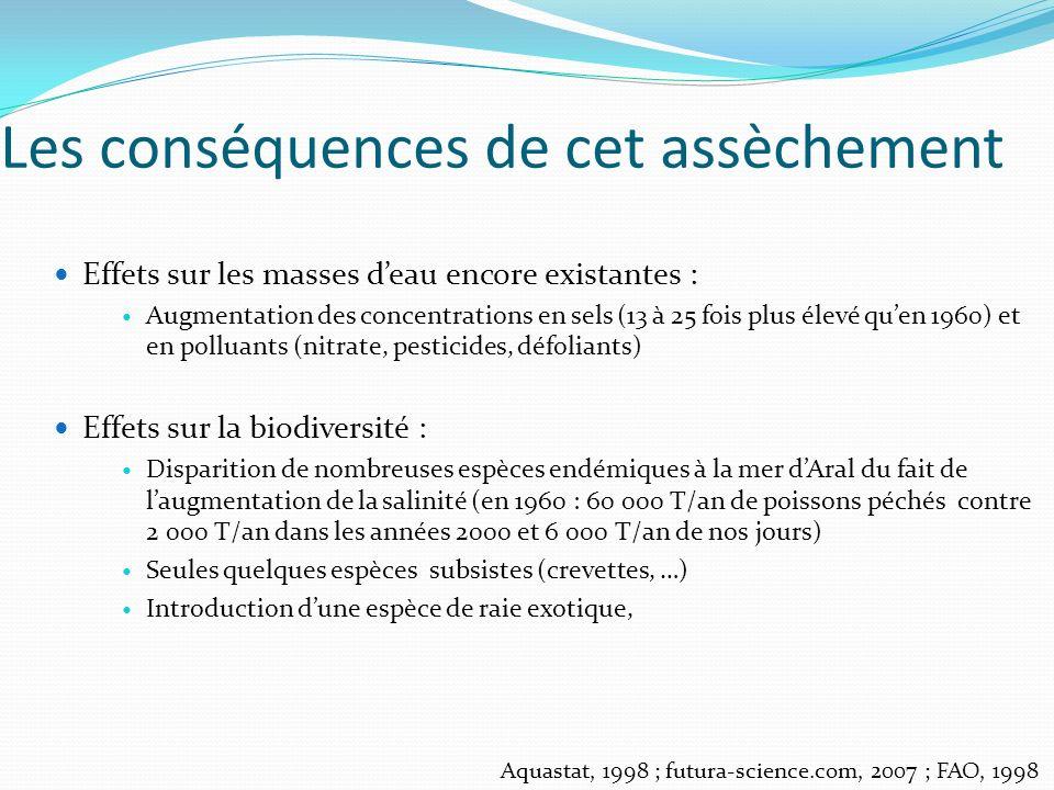 Les conséquences de cet assèchement Effets sur les masses deau encore existantes : Augmentation des concentrations en sels (13 à 25 fois plus élevé qu