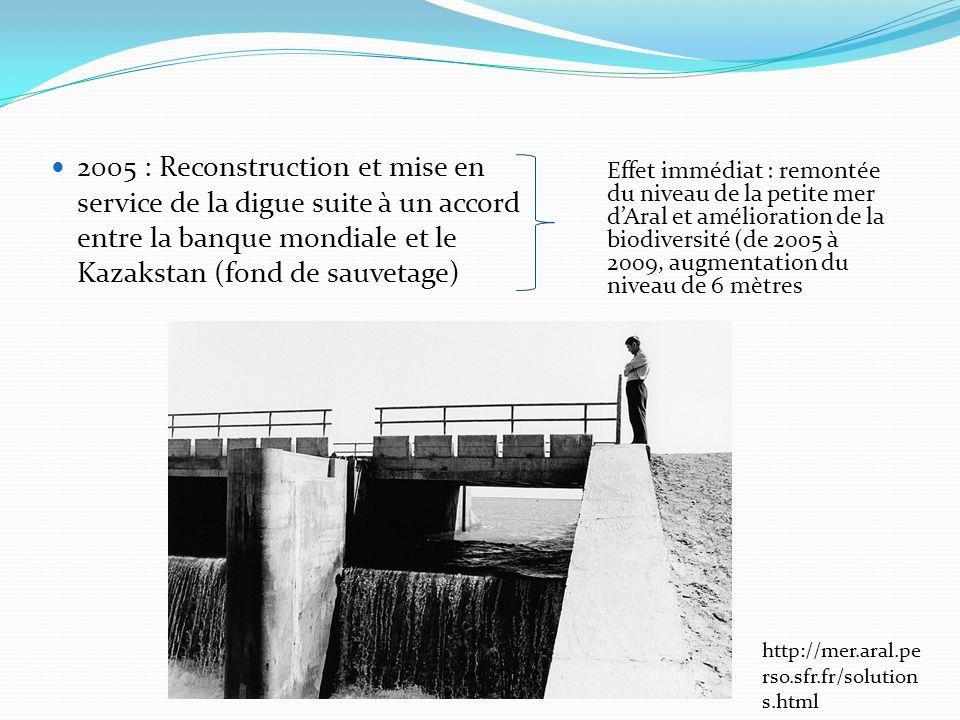 2005 : Reconstruction et mise en service de la digue suite à un accord entre la banque mondiale et le Kazakstan (fond de sauvetage) http://mer.aral.pe rso.sfr.fr/solution s.html Effet immédiat : remontée du niveau de la petite mer dAral et amélioration de la biodiversité (de 2005 à 2009, augmentation du niveau de 6 mètres