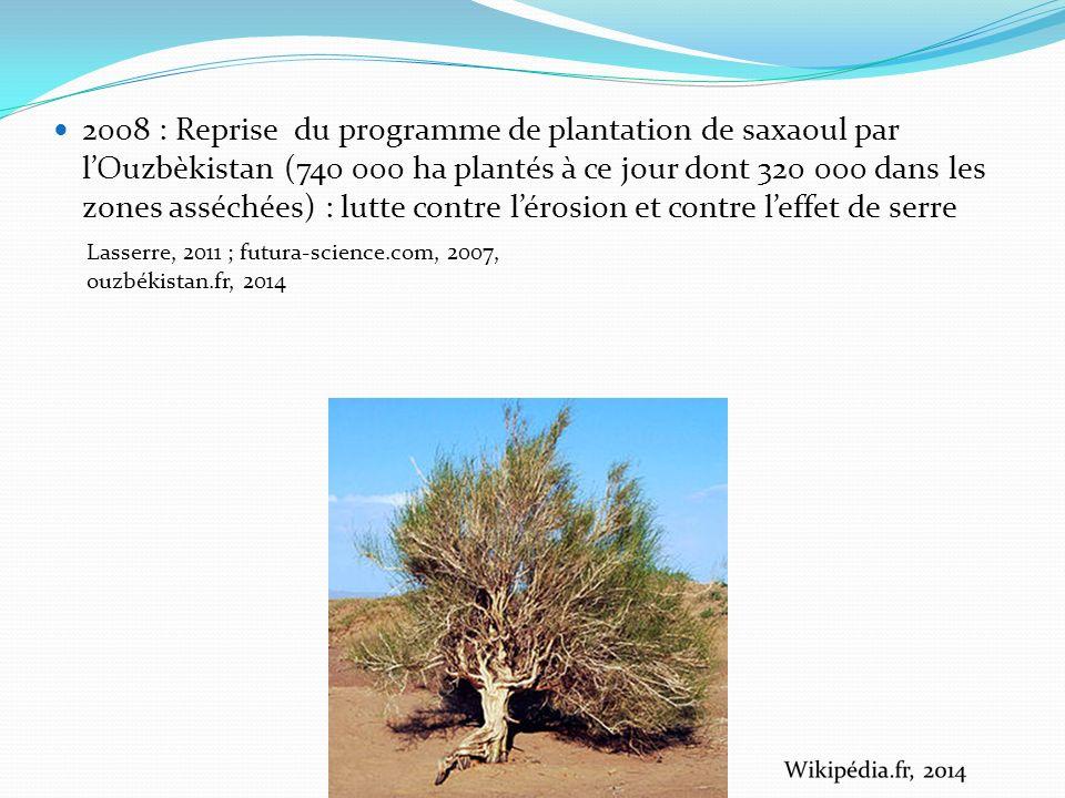2008 : Reprise du programme de plantation de saxaoul par lOuzbèkistan (740 000 ha plantés à ce jour dont 320 000 dans les zones asséchées) : lutte contre lérosion et contre leffet de serre Lasserre, 2011 ; futura-science.com, 2007, ouzbékistan.fr, 2014